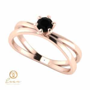 Inel de logodna din aur cu diamant negru ES52