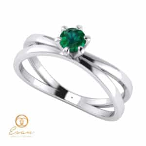 Inel de logodna din aur cu smarald ES52