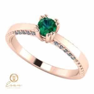 Inel de logodna din aur cu smarald si diamante ES100