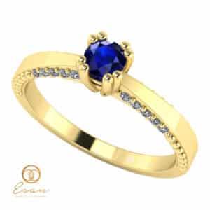 Inel de logodna din aur cu safir si diamante ES100
