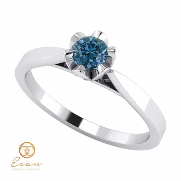 Inel de logodna din aur cu diamant albastru ES55