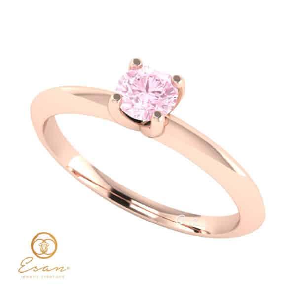 Inel de logodna din aur cu diamant roz ES56