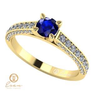 Inel de logodna din aur cu safir si diamante ES87