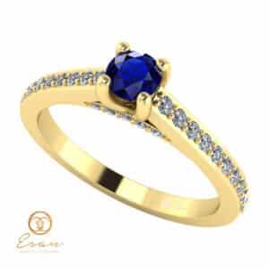 Inel de logodna din aur cu safir si diamante ES112