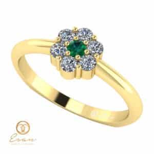 Inel de logodna din aur cu smarald diamante ES70