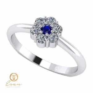 Inel de logodna din aur cu safir si diamante ES70