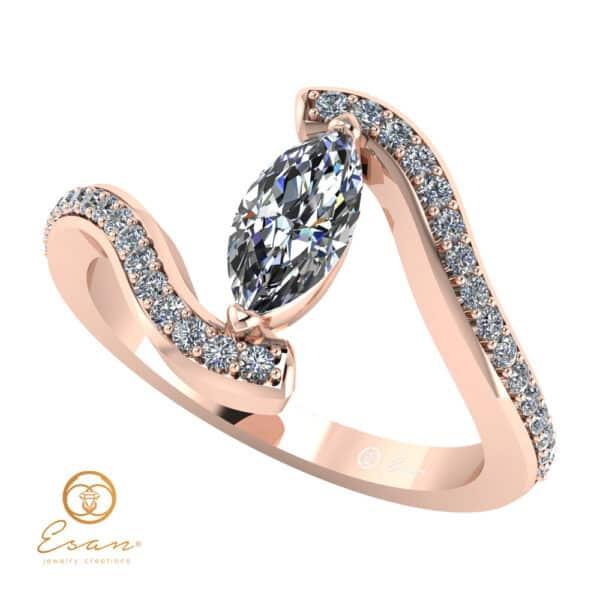 Inel din aur cu diamante incolore si diamant marquise ES113