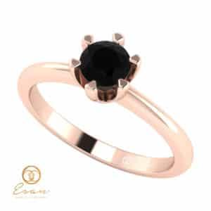 Inel de logodna din aur cu diamant negru ES49