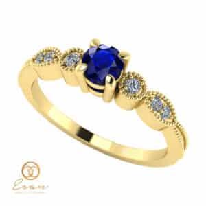 Inel de logodna din aur cu safir si diamante ES111