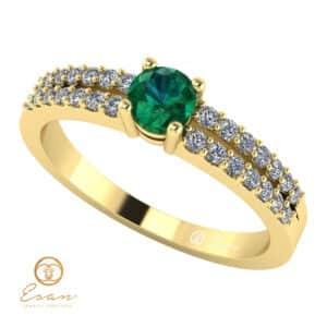 Inel de logodna din aur cu smarald si diamante ES114