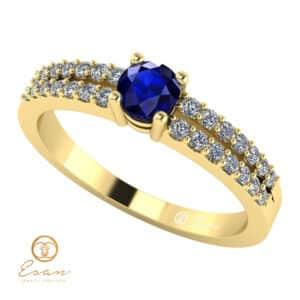Inel de logodna din aur cu safir si diamante ES114