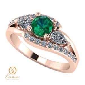 Inel de logodna din aur cu smarald si diamante ES101