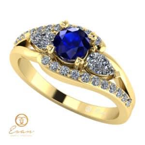 Inel de logodna din aur cu safir si diamante ES101