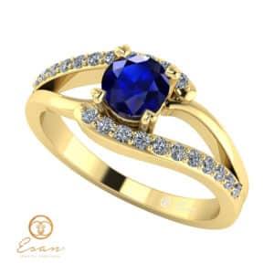 Inel de logodna din aur cu safir si diamante ES102