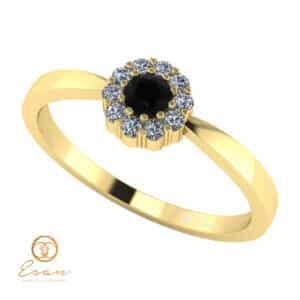 Inel de logodna din aur cu diamant negru si diamante incolore ES74