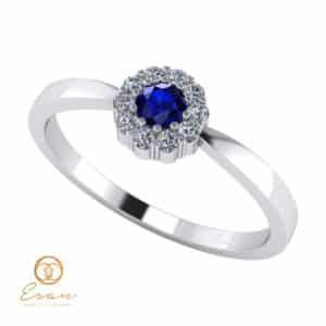 Inel de logodna din aur cu safir si diamante ES74