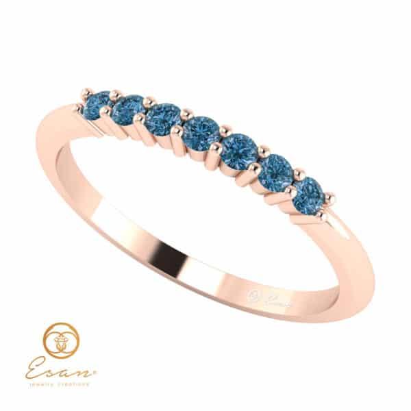 Inel de logodna din aur cu diamante albastre ES62