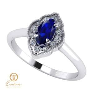 Inel de logodna din aur cu safir si diamante ES76