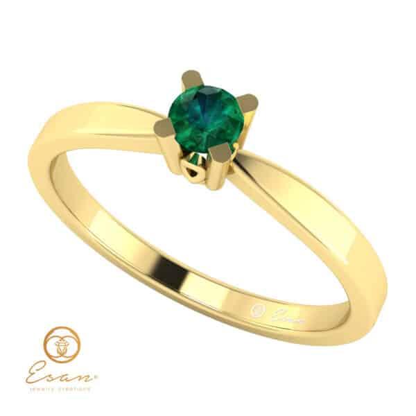 Inel de logodna din aur cu smarald ES46