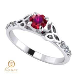 Inel de logodna din aur cu rubin si diamante ES103