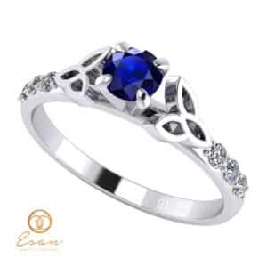 Inel de logodna din aur cu safir si diamante ES103