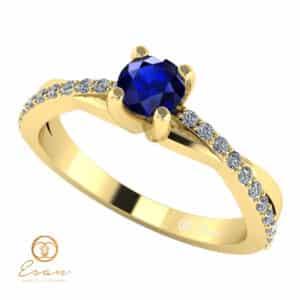 Inel de logodna din aur cu safir si diamante ES104