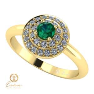 Inel de logodna din aur cu smarald diamante ES68