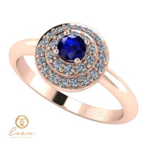 Inel de logodna din aur cu safir si diamante ES68