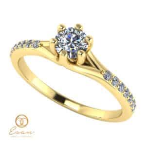 Inel de logodna din aur cu diamante incolore ES105