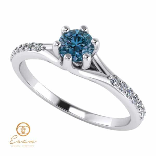 Inel din aur cu diamant albastru teal blue si diamante ES105