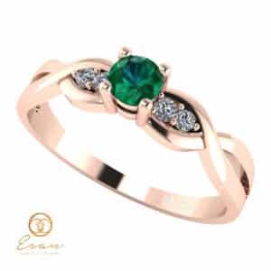 Inel de logodna din aur cu smarald si diamante ES106