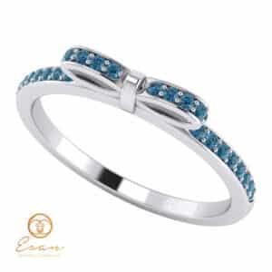 Inel de logodna din aur cu diamante albastre model fundita ESDB88
