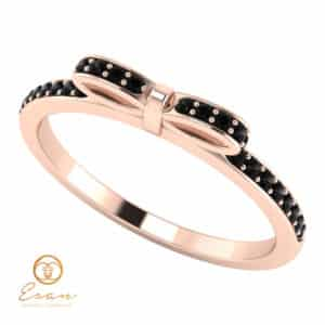 Inel de logodna din aur cu diamante negre model fundita ESDN88