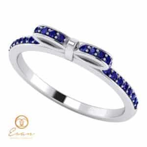 Inel de logodna din aur cu safir si diamante ES88