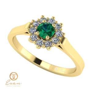 Inel de logodna din aur cu smarald diamante ES71