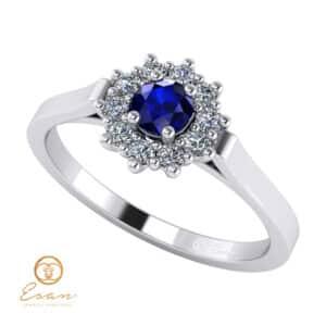 Inel de logodna din aur cu safir si diamante ES71