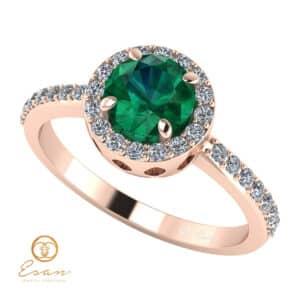 Inel de logodna din aur cu smarald diamante ES73