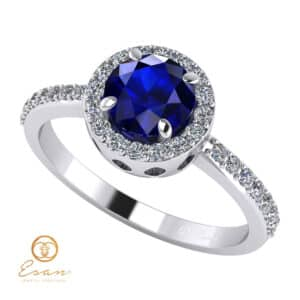 Inel de logodna din aur cu safir si diamante ES73