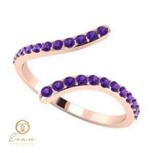 Inel de logodna din aur cu ametiste ES63