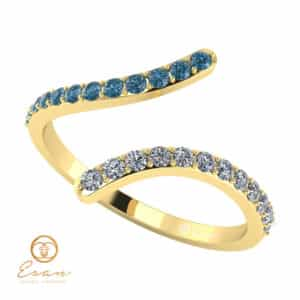 Inel de logodna cu diamante incolore si diamante albastre ESDB63
