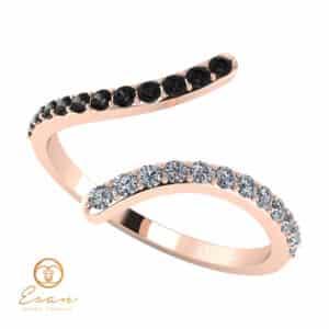 Inel de logodna din aur cu diamante incolore si diamante negre ESDN63