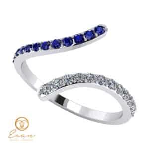 Inel de logodna din aur cu diamante si safire ES63