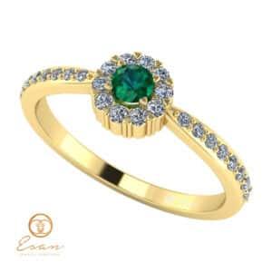Inel de logodna din aur cu smarald diamante ES75