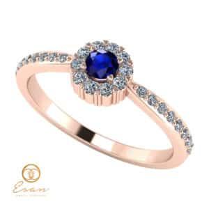 Inel de logodna din aur cu safir si diamante ES75