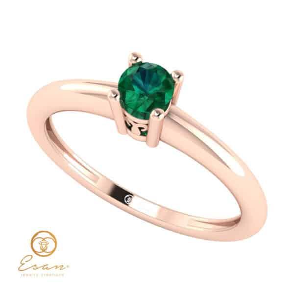 Inel de logodna din aur cu smarald ES42