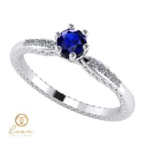 Inel de logodna din aur cu safir si diamante ES107