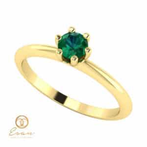 Inel de logodna din aur cu smarald ES41