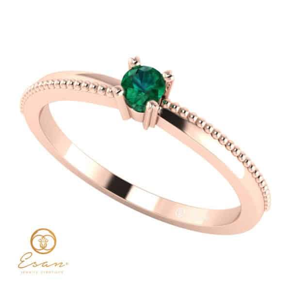Inel de logodna din aur cu smarald ES38
