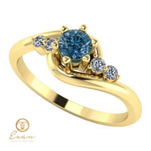 Inel din aur cu diamant albastru teal blue si diamante incolore ES108