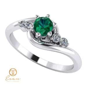 Inel de logodna din aur cu smarald si diamante ES108